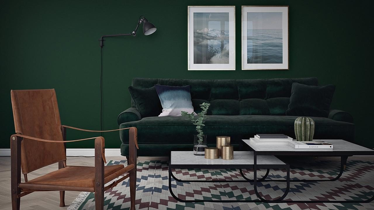 mörkgrön-vägg